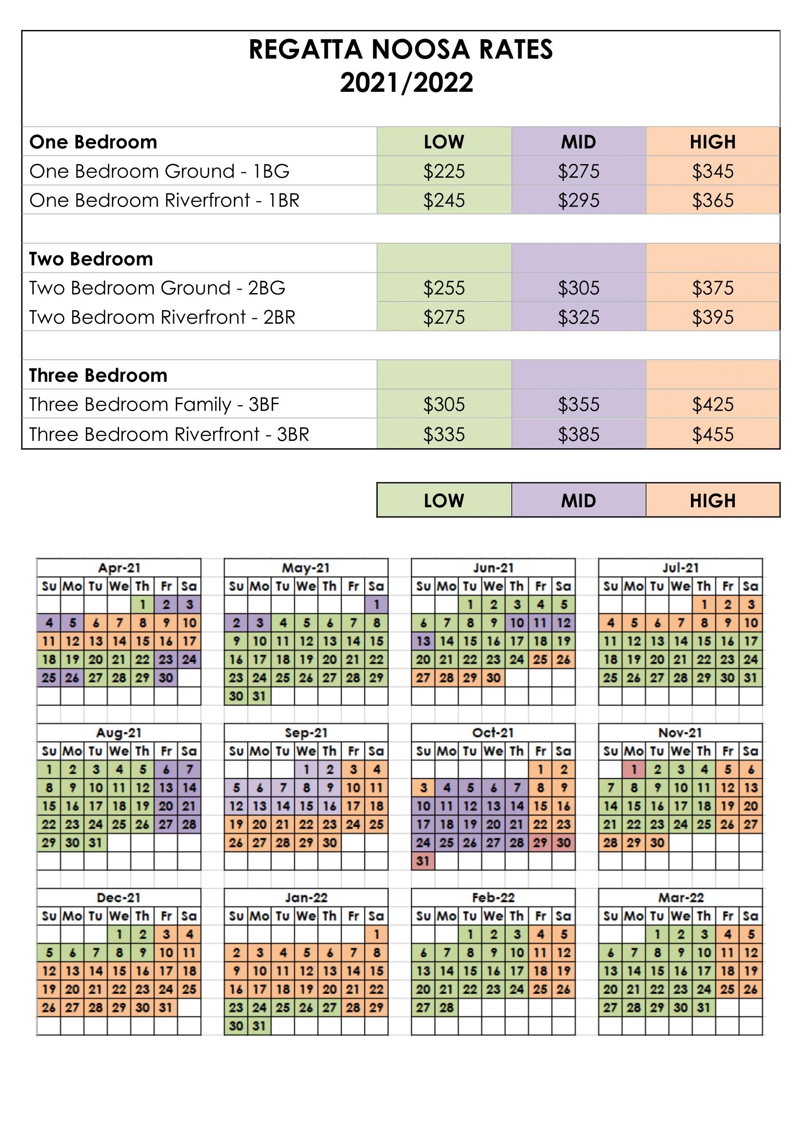 Regatta Rate Calendar 2021